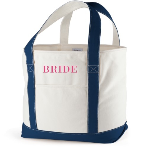 Bride Canvas Tote Bag, Navy, Large tote, White