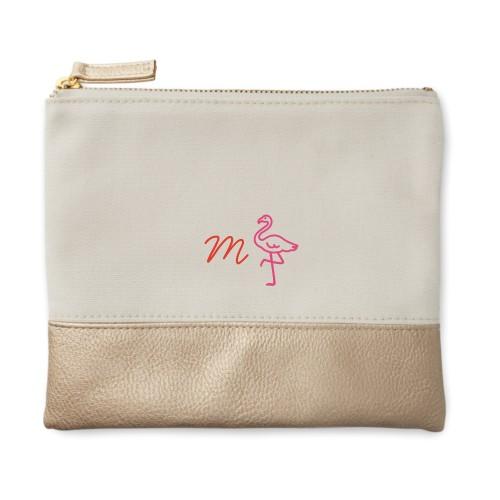 Flamingo Canvas Pouch, Metallic Gold, Small Pouch, White