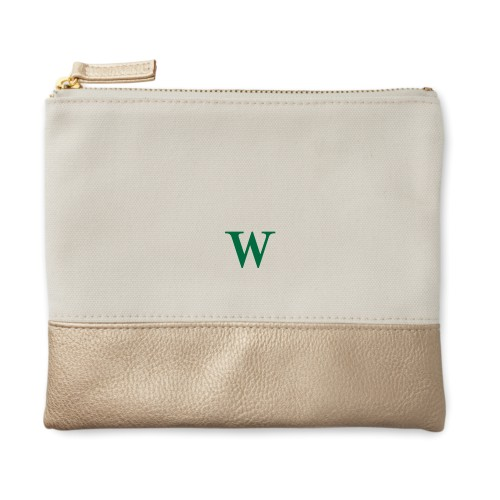 Big Initial Canvas Pouch, Metallic Gold, Small Pouch, White