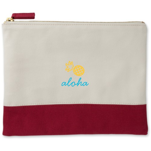 Pineapple Canvas Pouch, Red, Large Pouch, White