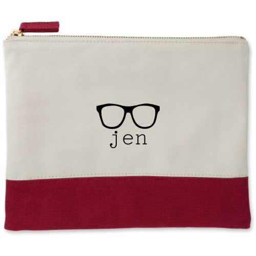 Cool Frames Canvas Pouch, Red, Large Pouch, White