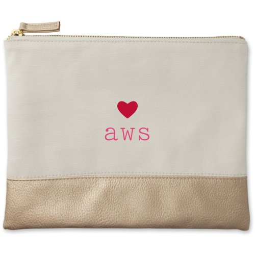 Perfect Pair Heart Canvas Pouch, Metallic Gold, Large Pouch, White