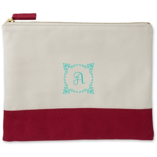 Foliage Wreath Canvas Pouch, Red, Large Pouch, White