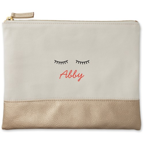 Lashes Canvas Pouch, Metallic Gold, Large Pouch, White