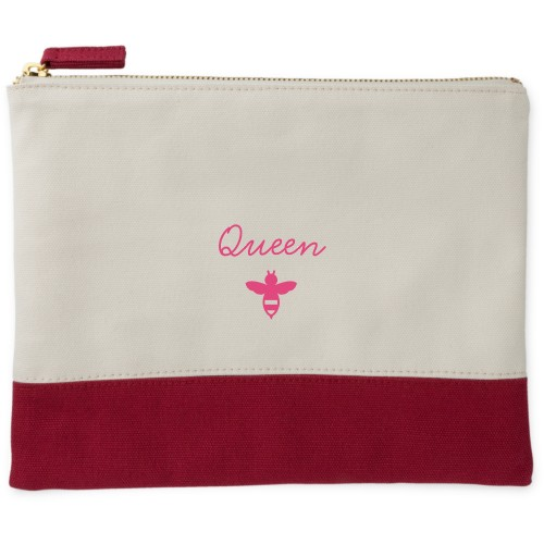 Queen Bee Canvas Pouch, Red, Large Pouch, White