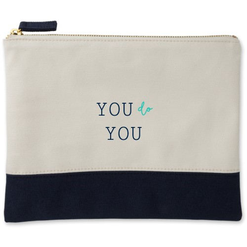 Be You Canvas Pouch, Navy, Large Pouch, White