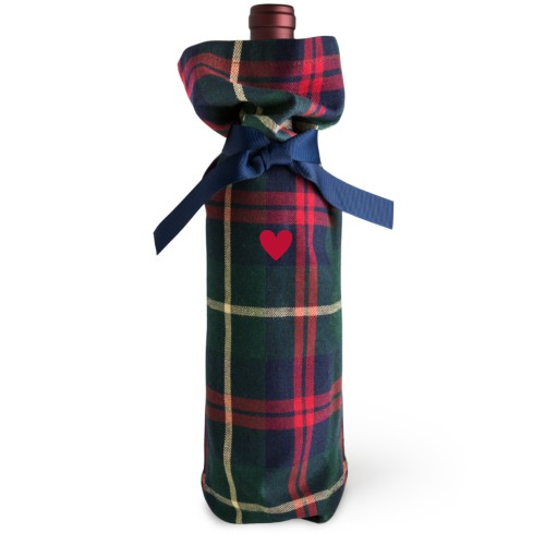 Heart Wine Bag, Wine Bag Tartan, Add Personalization, None, White