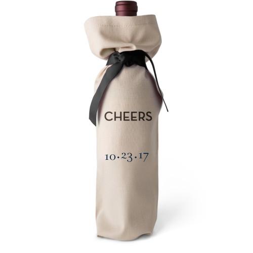 Merry Wine Bag, Wine Bag Linen, Add Personalization, Cheers, White