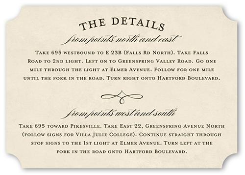Vintage Skyline Wedding Enclosure Card, Ticket Corners