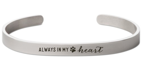 Paw Heart Engraved Cuff