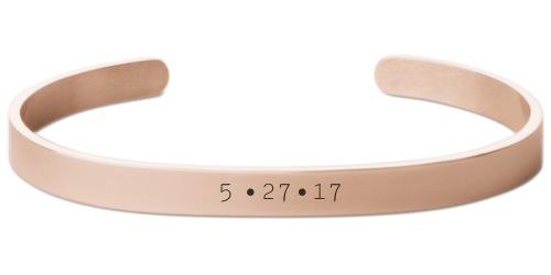 Milestone Date Engraved Cuff, Rose Gold