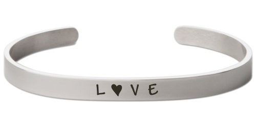 Love Letter Engraved Cuff, Silver