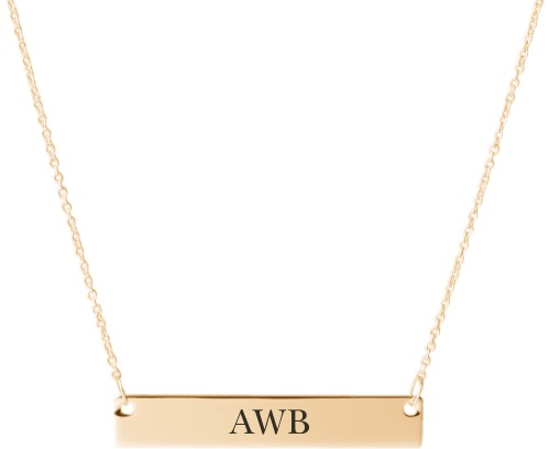 Three Letter Monogram Engraved Bar Necklace, Gold, Engraved Necklace Single Side