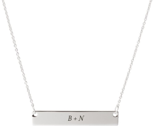 Plus Two Monogram Engraved Bar Necklace, Silver, Engraved Necklace Double Side