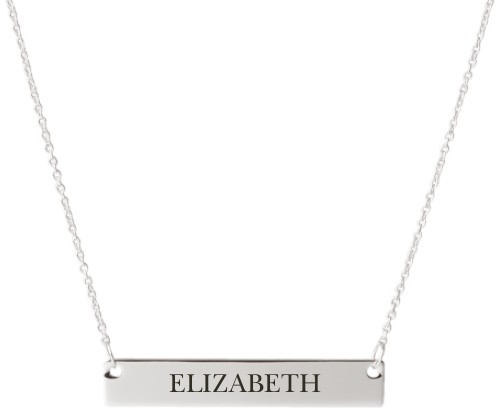 Make It Yours Engraved Bar Necklace, Silver, Engraved Necklace Double Side