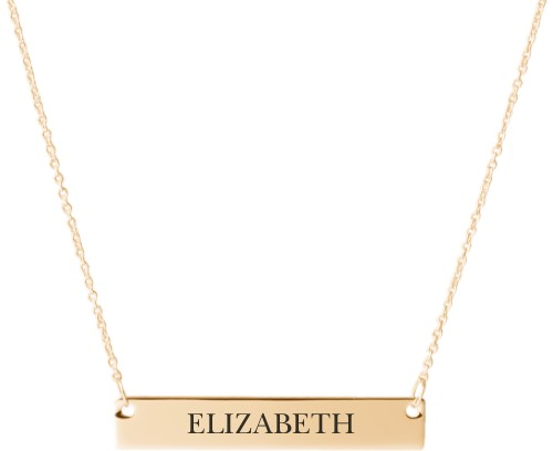 Make It Yours Engraved Bar Necklace, Gold, Engraved Necklace Single Side