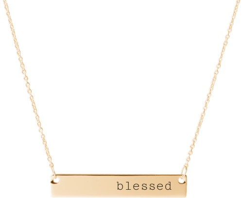 Blessed Engraved Bar Necklace, Gold, Engraved Necklace Single Side