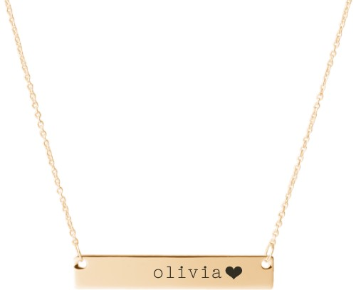 Heart End Engraved Bar Necklace, Gold, Engraved Necklace Single Side