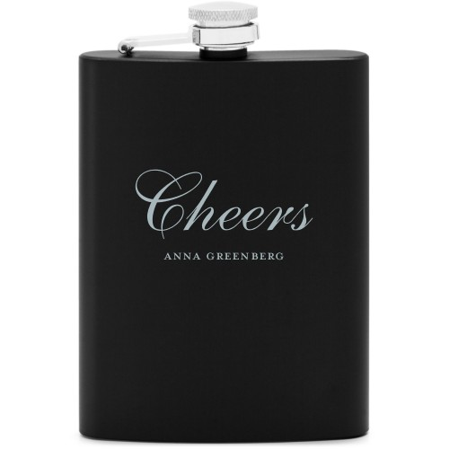 Cheers Flask, Matte Black, Flask Double Side, Stainless Steel, White
