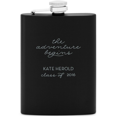 The Adventure Begins Flask, Matte Black, Flask Single Side, Stainless Steel, White