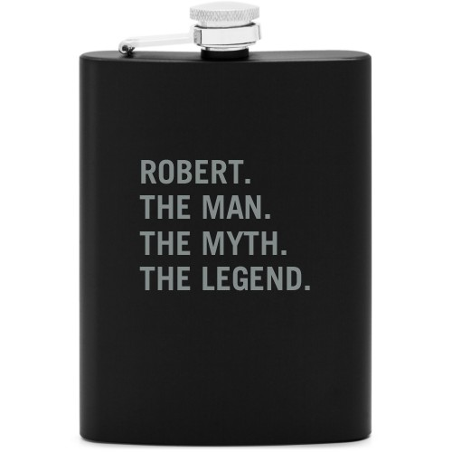 The Man Flask, Matte Black, Flask Single Side, Stainless Steel, White