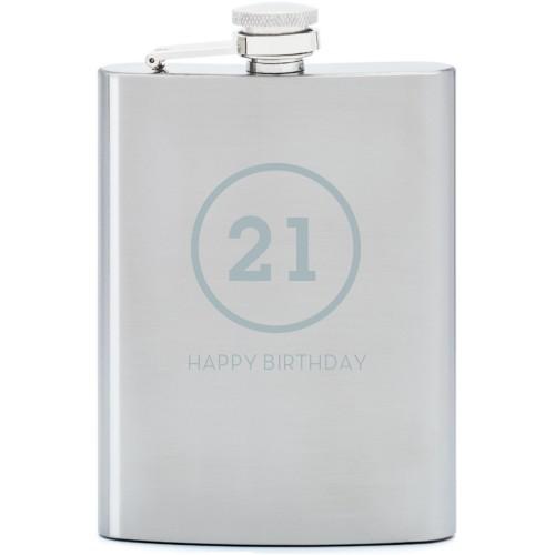 Milestone Flask, Stainless Steel, Flask Single Side, Stainless Steel, White