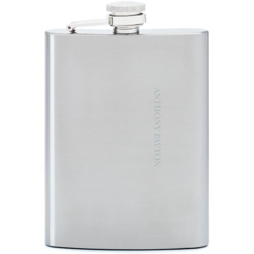 Namesake Flask, Stainless Steel, Flask Single Side, Stainless Steel, White