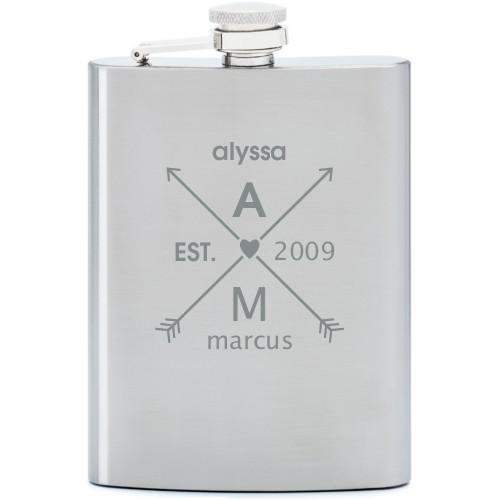 Arrows And Heart Flask, Stainless Steel, Flask Single Side, Stainless Steel, White