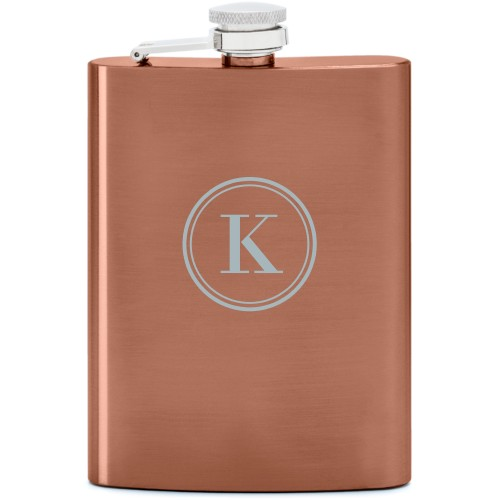 Circle Monogram Flask, Copper, Flask Double Side, Stainless Steel, White