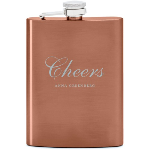 Cheers Flask, Copper, Flask Double Side, Stainless Steel, White