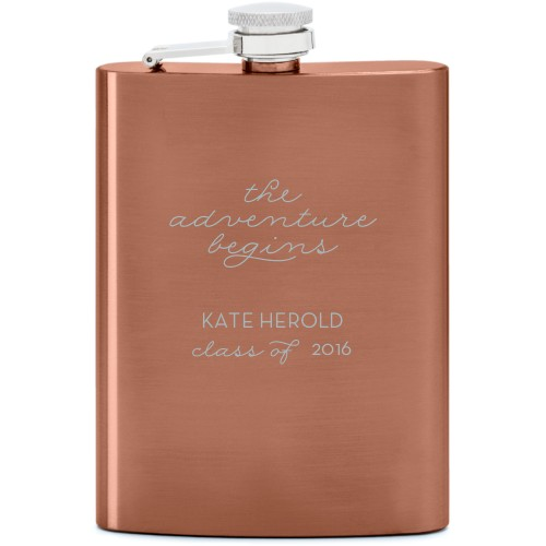 The Adventure Begins Flask, Copper, Flask Single Side, Stainless Steel, White