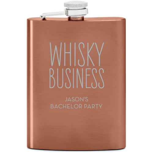 Whisky Business Flask, Copper, Flask Single Side, Stainless Steel, White