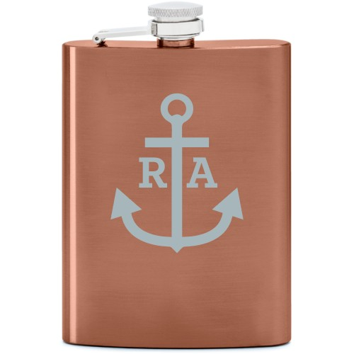 Anchors Away Flask, Copper, Flask Single Side, Stainless Steel, White