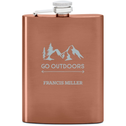 Go Outdoors Flask, Copper, Flask Single Side, Stainless Steel, White