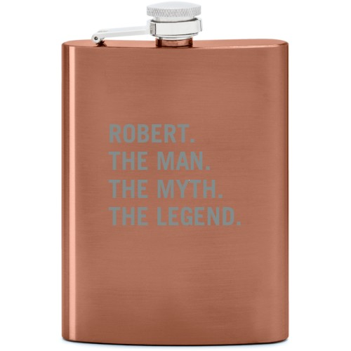 The Man Flask, Copper, Flask Double Side, Stainless Steel, White