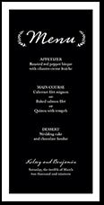refined monogram wedding menu