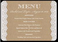 burlap and lace wedding menu