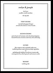 impeccable style wedding menu