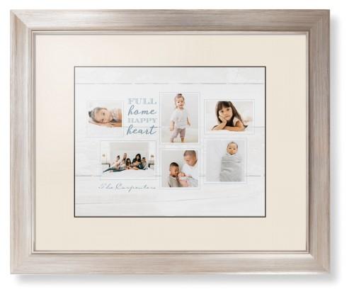 Full Home Happy Heart Framed Print, Metallic, Modern, Black, Cream, Single piece, 11 x 14 ...