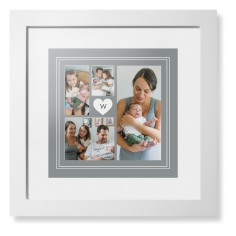 double border heart collage framed print