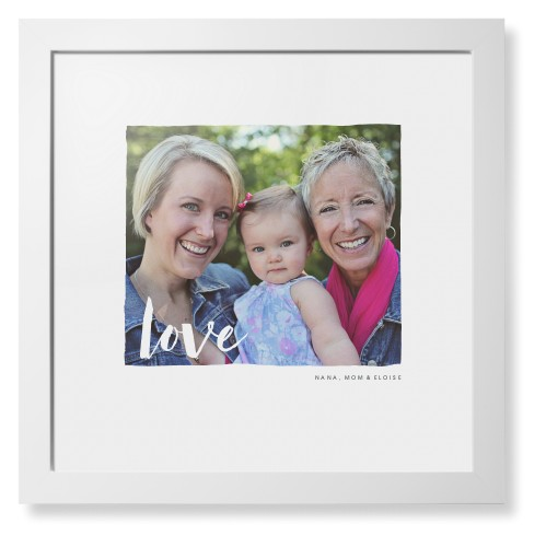 Love Script Overlay Framed Print, White, Contemporary, White, White, Single piece, 16 x 16 ...