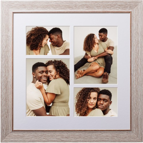 Mixed Four Up Portrait Deluxe Mat Framed Print, Rustic, Modern, White, Single piece, 16 x 16 ...