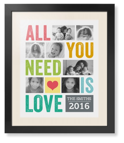 All You Need Is Love Framed Print, Black, Contemporary, White, Cream, Single piece, 16 x 20 ...