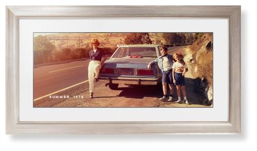 Gallery Panoramic Framed Print, Metallic, Modern, Black, White, Single piece, 10 x 24 inches, ...