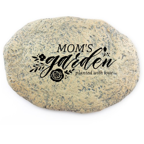 Bold Script Garden Stone, Large Oval Garden Stone (11x8), White