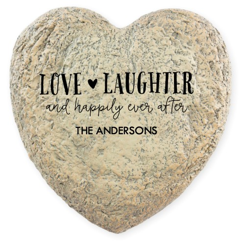 Love and Laughter Garden Stone, Heart Shaped Garden Stone (9x9), White