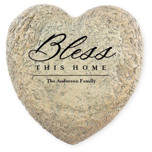 Garden Stones: Bless This Home Garden Stone, Heart Shaped Garden Stone (9x9), White