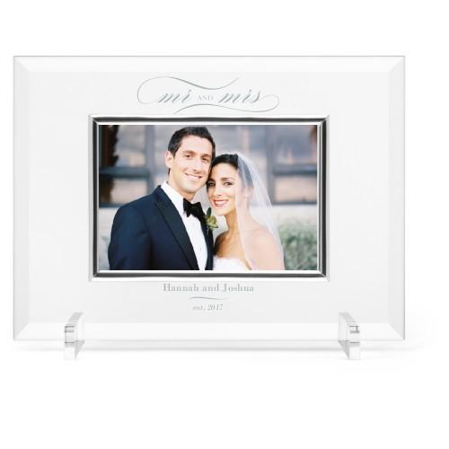 Classic Wedding Glass Frame, 11x8 Engraved Glass Frame, - Photo insert, White