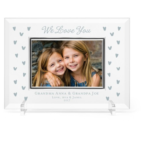 Heart Confetti Glass Frame, 11x8 Engraved Glass Frame, - No photo insert, White