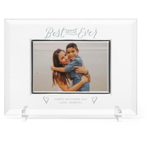 Best Mom Ever Glass Frame, 11x8 Engraved Glass Frame, - Photo insert, White